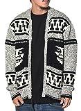 (オベイ) Obey ニットジャケット メンズ フルジップセーター ノルディック柄 151000030 ブラック/アイボリー M 大きいサイズ ストリート系