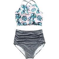 CUPSHE Women's Floral Top Stripe Bottom Back Lace Up High-Waisted Bikini Set Push Up Swimwear