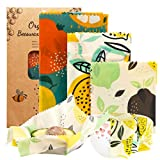 OrgaWise Reusable Beeswax Food Wrap Set of 6,Organic Cotton Bees Wax Wraps for Food Storage,Washable Eco Friendly Plastic Free Bowl Cheese Cover Sandwich Wrapper for Vegetable and Bread