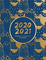 2020 - 2021 Weekly & Monthly Planner: Big Custom Planners Gift For Owl Lover; Two Year Organizer Book; Stay Organized With  Our Agenda & Appointment Calendar Weekly Planner Customized with Dot Grid Journal (Cute Gold Colored Owls on Navy Blue Background)