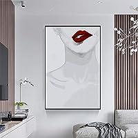 Waitousanqi ホワイトガールのセクシーな赤い唇の絵、北欧スタイル/モダンミニマリストスタイル、ポーチ/室内装飾絵画、プロのキャンバス、黒PSフレーム、5つのサイズ A11 (Size : 40*60cm)
