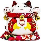 開運招き猫 貯金箱 ラッキー アイテム 風水 猫の置物オブジェ エンジェル (14cm*14cm*15cm)