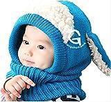 【On Dolce】選べる5色 うさぎちゃん風 ニット帽 ニット帽子 ベビー キッズ 赤ちゃん 子 子供 用 かわいい 防寒 BN005 (ブルー)
