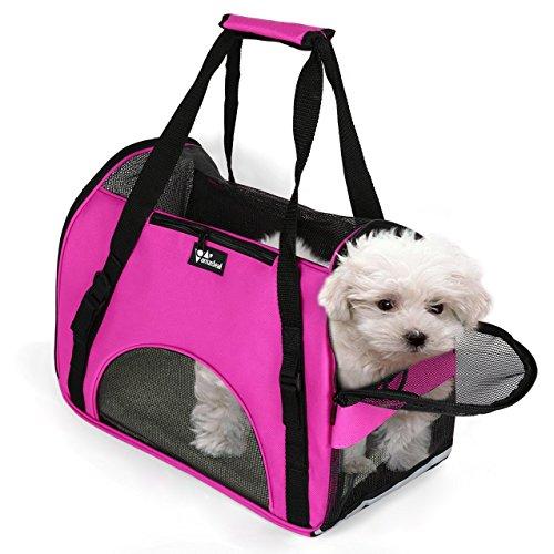 Amzdeal ペット用キャリーバッグ 犬用キャリーバッグ ねこキャリーバッグ 折りたたみ 肩掛けもできる軽量ペットキャリー 犬 ねこ お出かけ 散歩(ローズ)