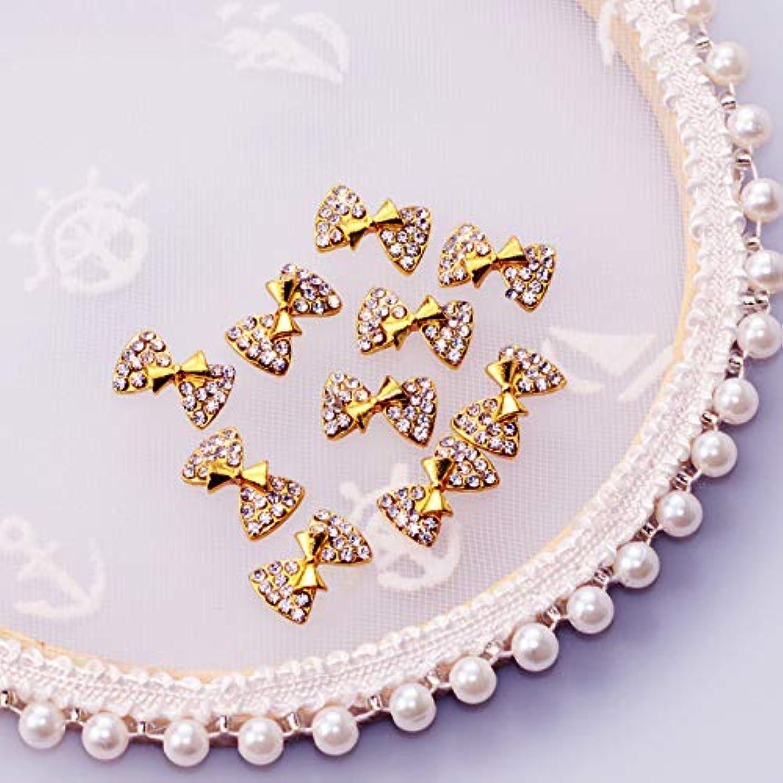 ジーンズ主婦むさぼり食う10個新しいかわいい蝶ネクタイ3Dネイルアート装飾合金ネイルチャームクリスタルネイルラインストーンマニキュアツールTN339