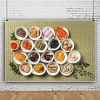 Qinunipoto 食品の大皿の背景 竹マットの背景 緑の葉 写真の背景 写真スタジオ 撮影用 背景布 写真撮影用 背景 撮影 ポリエステル 洗濯可 写真撮影用の背景幕 背景幕 無反射布 抽象背景布 2.5x1.5m