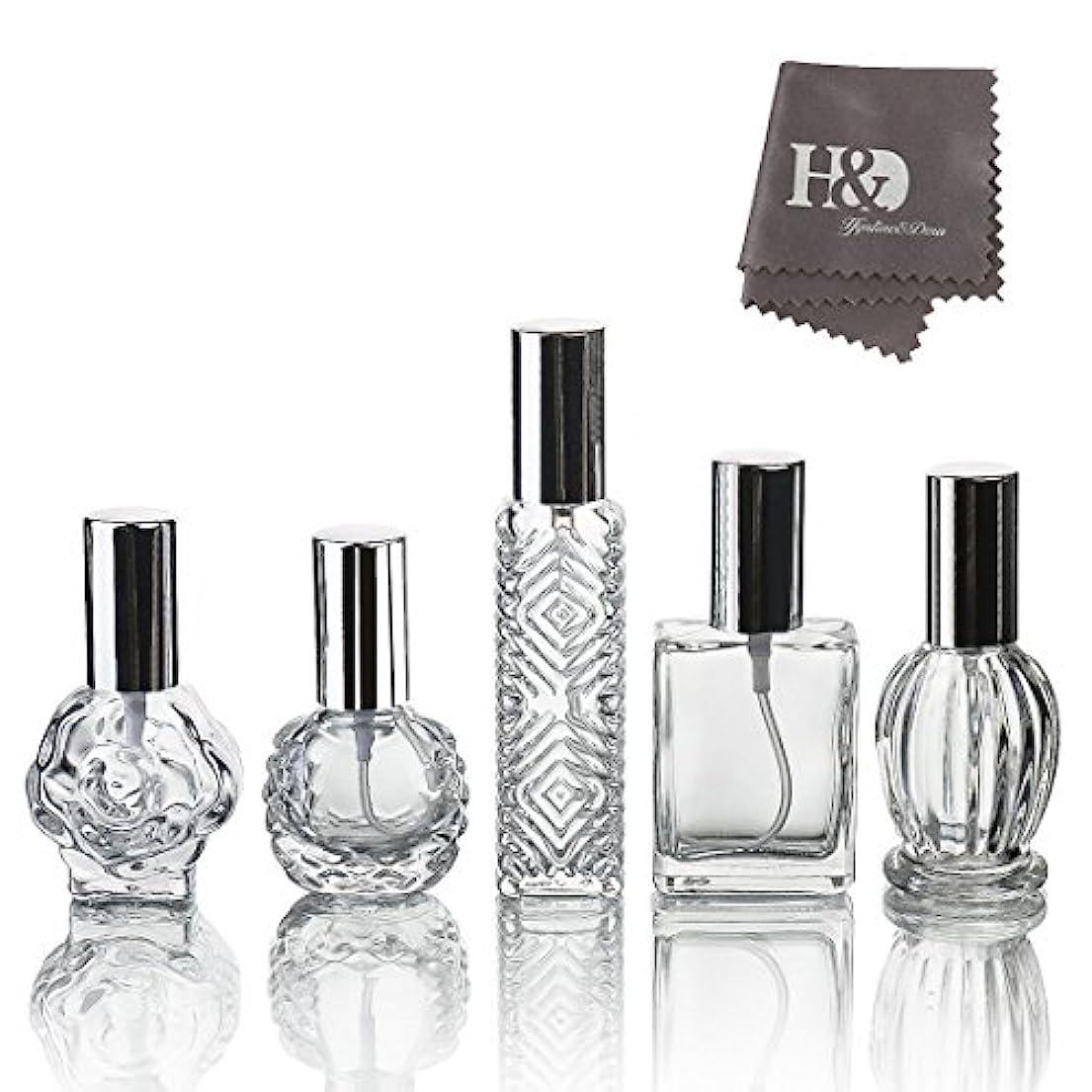 疎外誇張便利さH&D 5枚セット ガラスボトル 香水瓶 詰替用瓶 分け瓶 旅行用品 化粧水用瓶 装飾雑貨 ガラス製 (2)