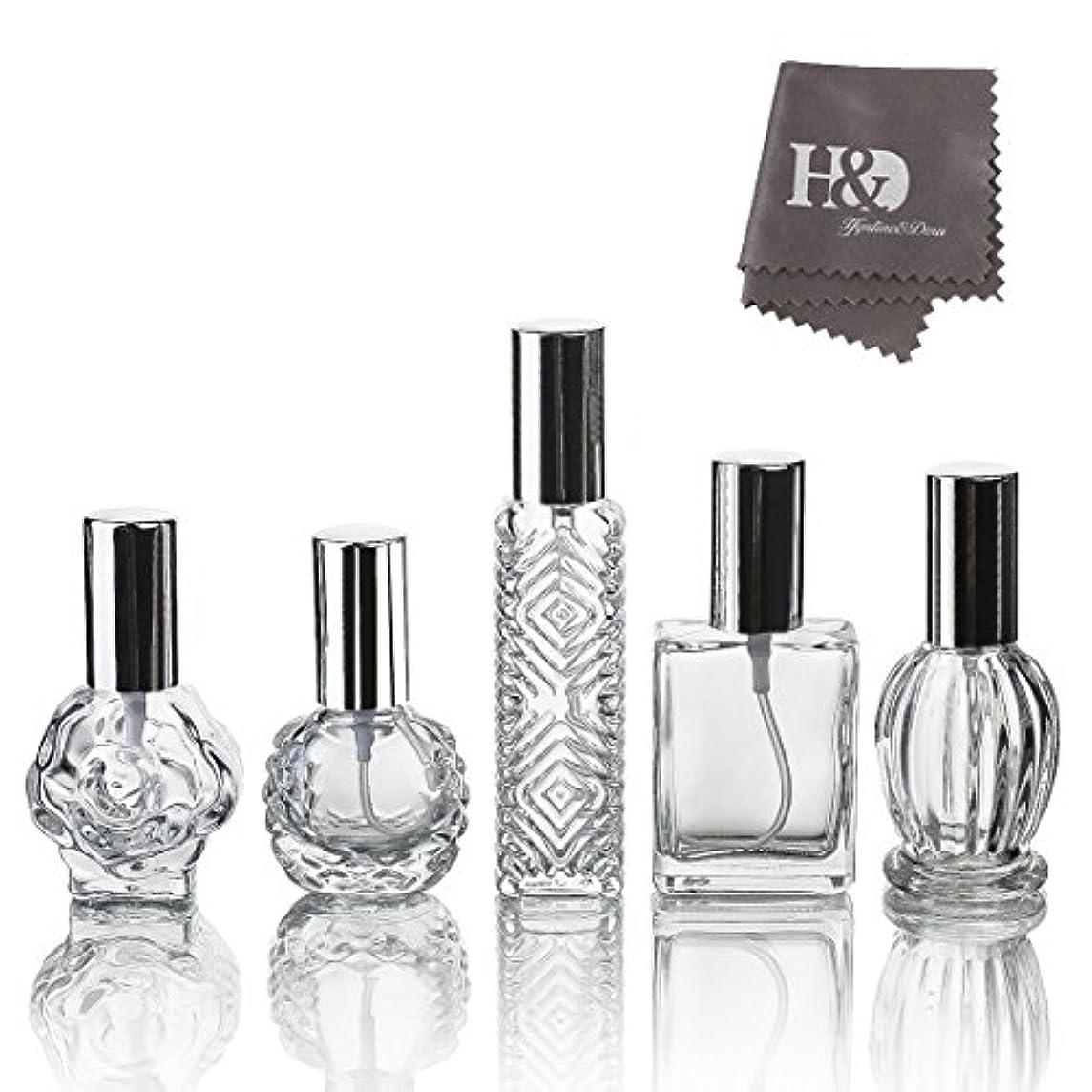 現代のシュートコークスH&D 5枚セット ガラスボトル 香水瓶 詰替用瓶 分け瓶 旅行用品 化粧水用瓶 装飾雑貨 ガラス製 (2)