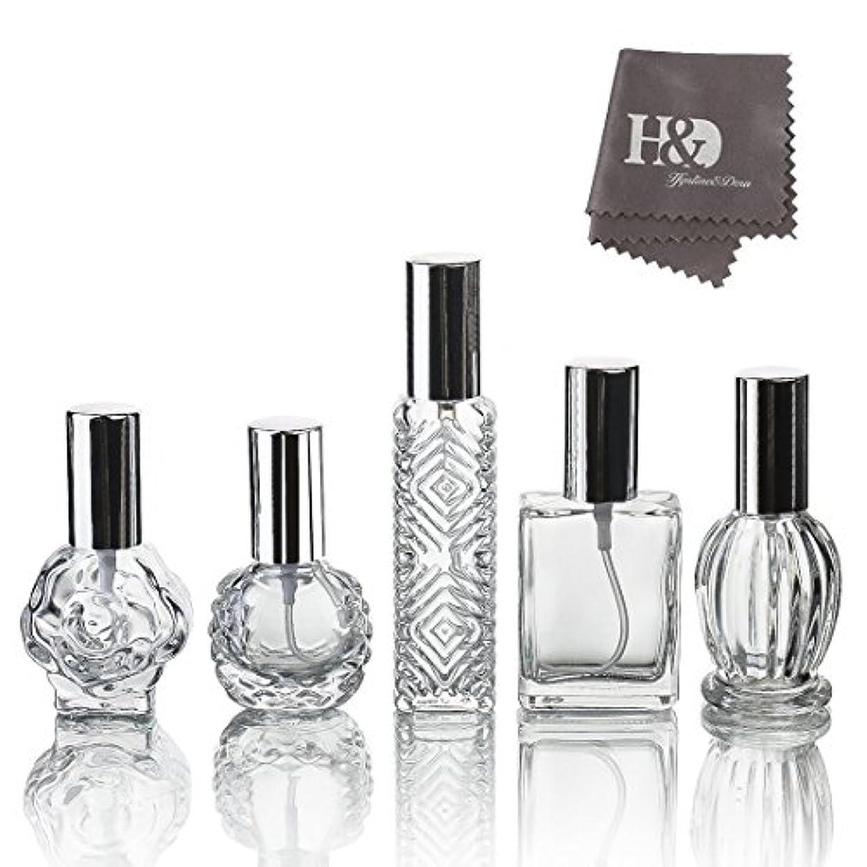 不屈引き出すスキニーH&D 5枚セット ガラスボトル 香水瓶 詰替用瓶 分け瓶 旅行用品 化粧水用瓶 装飾雑貨 ガラス製 (2)