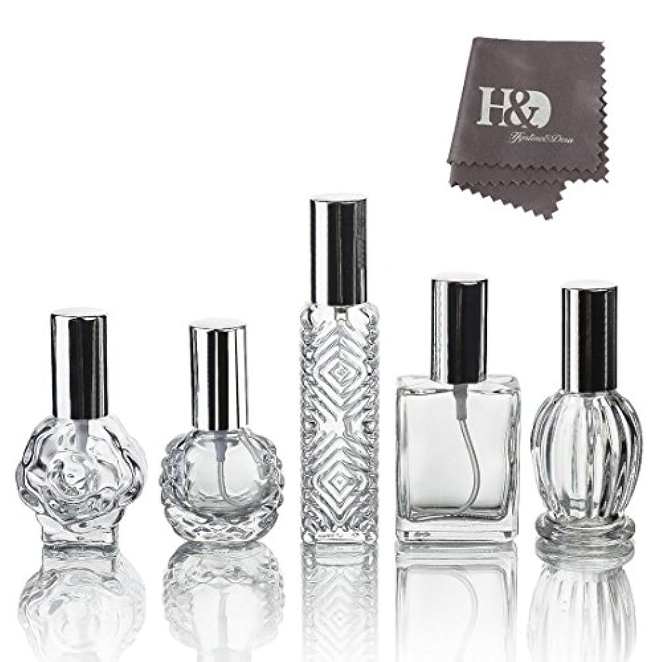 大破小切手送金H&D 5枚セット ガラスボトル 香水瓶 詰替用瓶 分け瓶 旅行用品 化粧水用瓶 装飾雑貨 ガラス製 (2)