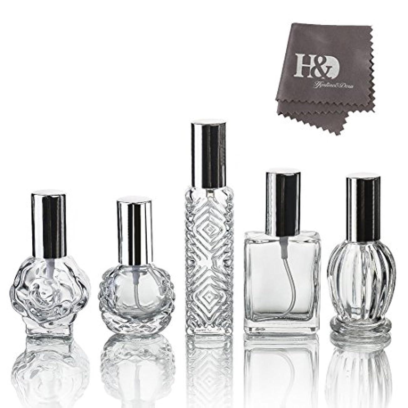 リビングルームパケット家畜H&D 5枚セット ガラスボトル 香水瓶 詰替用瓶 分け瓶 旅行用品 化粧水用瓶 装飾雑貨 ガラス製 (2)
