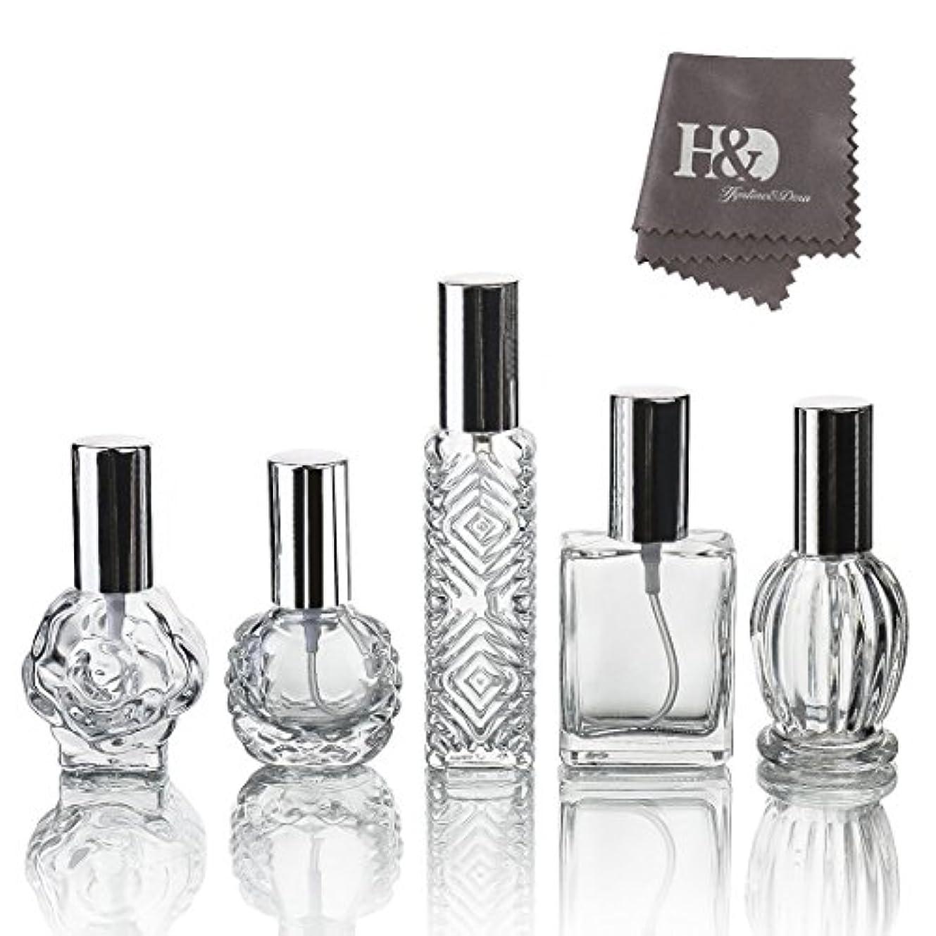 梨家具最大限H&D 5枚セット ガラスボトル 香水瓶 詰替用瓶 分け瓶 旅行用品 化粧水用瓶 装飾雑貨 ガラス製 (2)