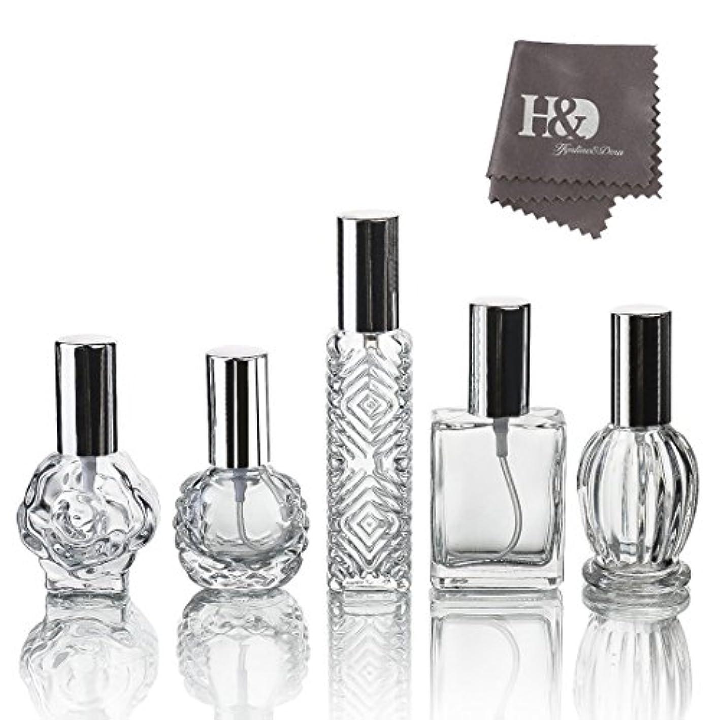 外観振り向く喜んでH&D 5枚セット ガラスボトル 香水瓶 詰替用瓶 分け瓶 旅行用品 化粧水用瓶 装飾雑貨 ガラス製 (2)