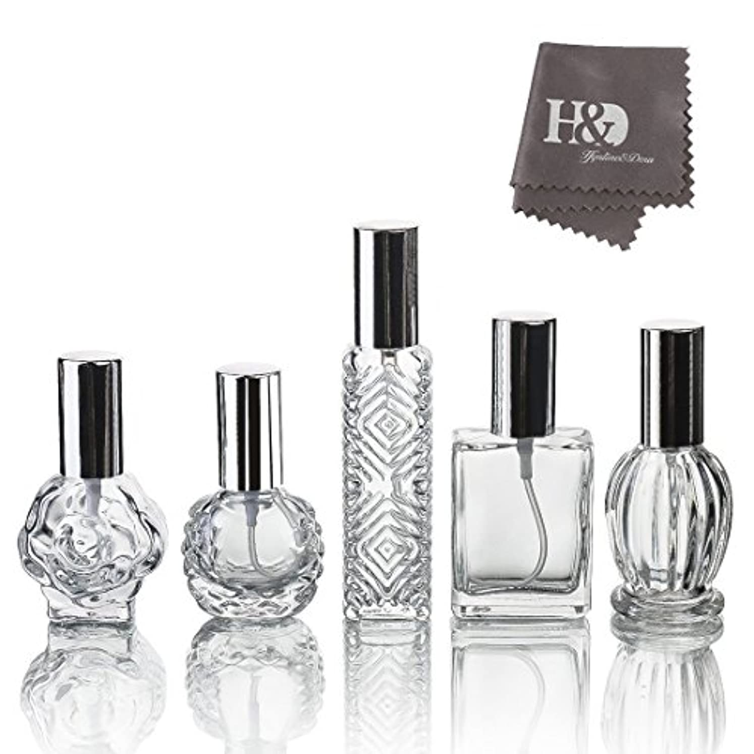 枕博物館額H&D 5枚セット ガラスボトル 香水瓶 詰替用瓶 分け瓶 旅行用品 化粧水用瓶 装飾雑貨 ガラス製 (2)