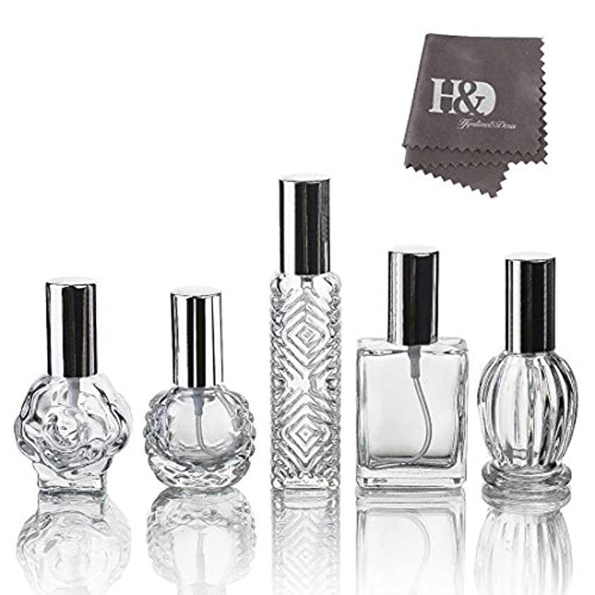 トランジスタゾーンブロックH&D 5枚セット ガラスボトル 香水瓶 詰替用瓶 分け瓶 旅行用品 化粧水用瓶 装飾雑貨 ガラス製 (2)