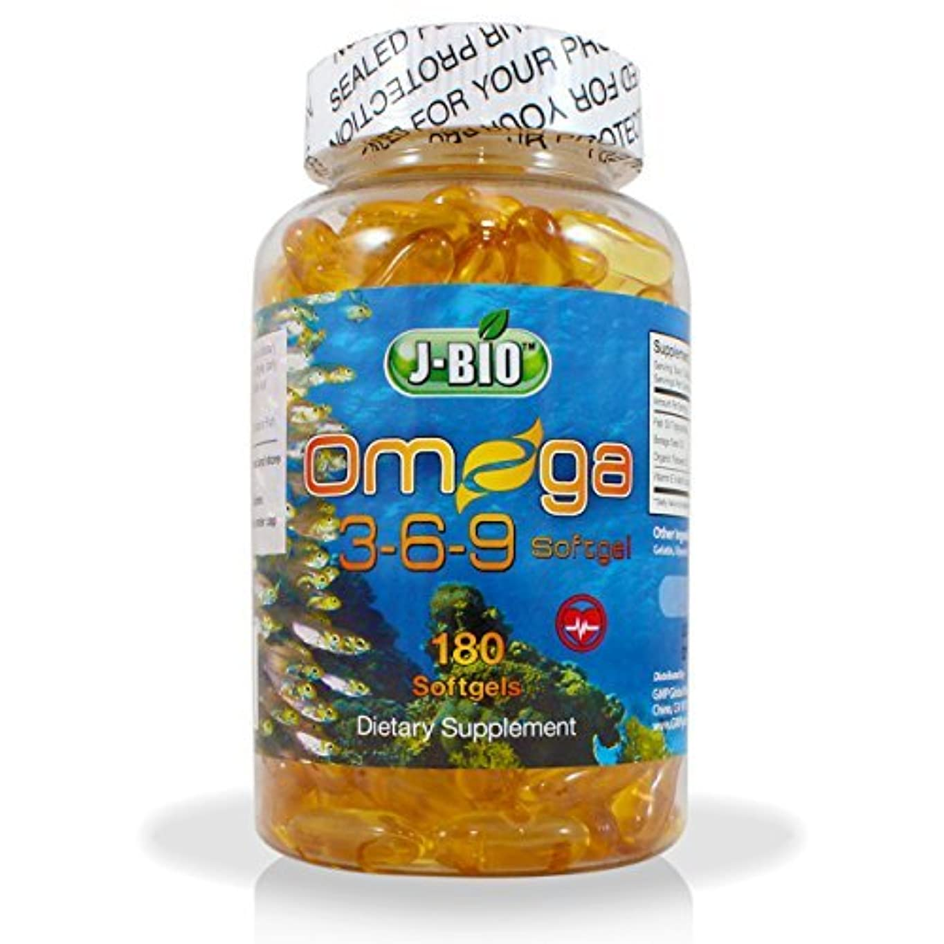 信条密接に歩くJ-BIO Omega 3-6-9 Fish Oil Pills (180 Counts) - Triple Strength Fish Oil Supplement (800mg Fish oil Triglycerides...