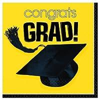 Costumes 202627 Congrats Grad Yellow Graduation Lunch Napkins [並行輸入品]