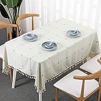 長方形のテーブルクロス、キッチンコーヒーテーブルホテルの装飾のための格子縞のブレンド生地抗 - やけ防止アンチ - シワ (色 : 緑, サイズ さいず : 55.1''*78.7'')