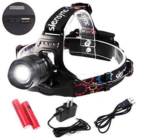 1800ルーメン LEDヘッドライト Siensync(TM) CREE XM-L2 ズーム機能付き 5モード 超強力 角度調整可 アウトドアー 夜釣り 工事作業 自電車 ハイキング キャンプ