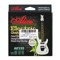 Alice AE530-XLメッキスチールニッケール合金巻線エレクトリックギター弦、余分な軽い張力(0.20mm-0.97mm)