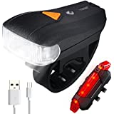 Bike Lights USB Rechargeable, Waterproof LED Bicycle Light Set 400 Lumen Ultra Bright Intelligent Sensor Bicycle Headlight Rear Lights for Mountain Road BMX Kids&City Bicycles,Cycling Accessories