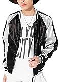 ブラック×シルバー M (ベストマート)BestMart サテン スカジャン 刺繍なし メンズ おしゃれ シンプル 無地 ブルゾン 横須賀 ヨコスカジャン 東洋 ナイロン ma-1 エムエーワン ショート丈 ノーカラー ジャケット ブルゾン スタジャン 621311-005-001