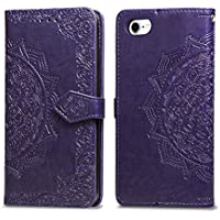iPhone 8 7 Case Wallet Case Leather, Mandala Flower Flip Case Wallet Leather Cover Case with Card Slots Magnetic Closure for iPhone 8 7 Case 4.7 inch