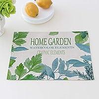 BUCNW home 牧歌的な緑の植物のプレースマット綿リネンアートスクエアテーブル絶縁パッドアンチホットカップマットポットパッド
