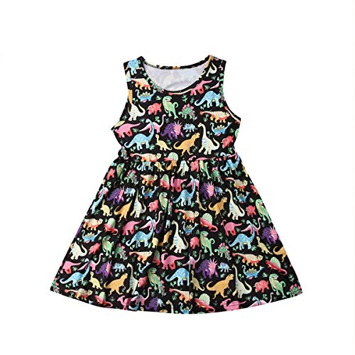 Toddler Kids Clothing Baby Girls Cute Cartoon Dinosaur Sleeveless Party Princess Mini Dress Outfits Clothes - Black - 5-6 Years