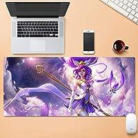 2D8V 伝説PCビッグテーブルマットサイズ快適に感じるスリップロックノートパソコンのキーボードパッドのスター風の少女ゲーミングマウスパッドリーグのJannaガーディアン (Color : 900mm*400mm, Size : 5mm)