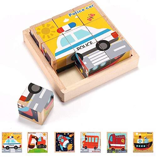 ARINKURIN 3D立体パズル キューブパズル 乗り物 車 6面 9コマ 木製 積み木 ブロック 知育玩具 1歳 2歳 3歳 ...