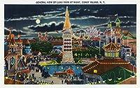 コニーアイランド、ニューヨーク–General view of Luna Park At Night 9 x 12 Art Print LANT-18671-9x12