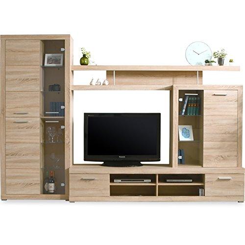 LOWYA (ロウヤ) テレビ台 壁面収納テレビ台 北欧デザイン 大容量収納付き ガラス扉 木製 ハイタイプ ~45型対応 幅284.5cm ナチュラル おしゃれ