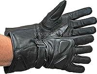 男性のオートバイグローブ乗馬グローブプレミアムパッド入りGauntletグローブ新しいブラックRegular ) L 419