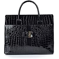 Chinatera Women's Crocodile Shoulder Bags Tote Handbag Purse Leather Bag One Size Black