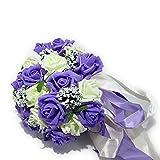 [Neustadt] ウェディングブーケに バラ 造花の ブーケ (ホワイト×パープル) ¥ 2,065