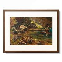 Julius Ernst August Hermann Rollmann 「Mountain Lake with Man on Wooden Boat. 1859」 額装アート作品