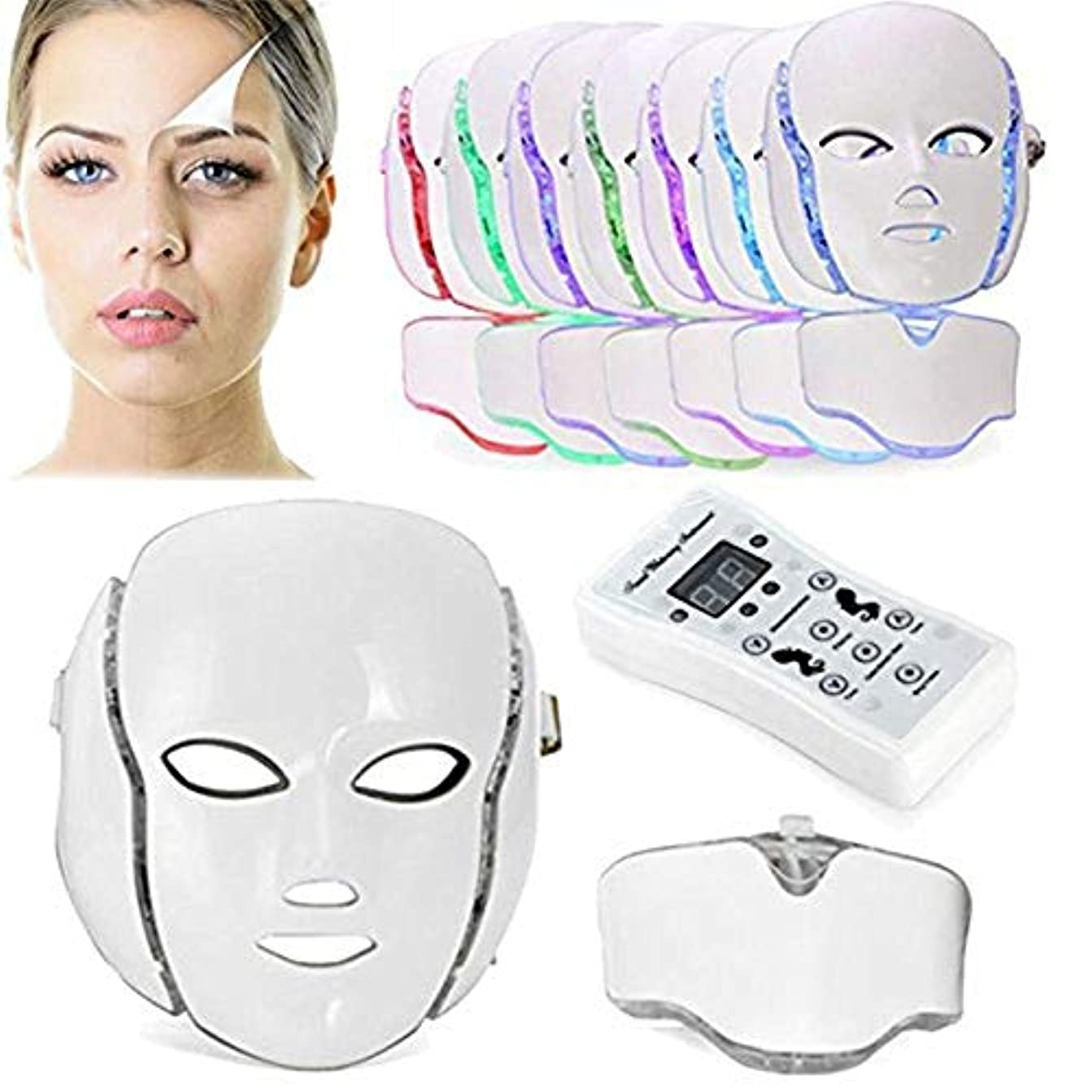 それる銛カビ7色PDT光子LEDの顔のマスクの皮の若返りのしわの取り外しの電気反老化LEDのマスクのアクネ、しわの取り外しのきつく締まること及び白くなること