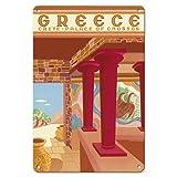 22cm x 30cmヴィンテージハワイアンティンサイン - ギリシャ - クレタ島 - Cnossosの宮殿 - ビンテージな世界旅行のポスター によって作成された c.1949