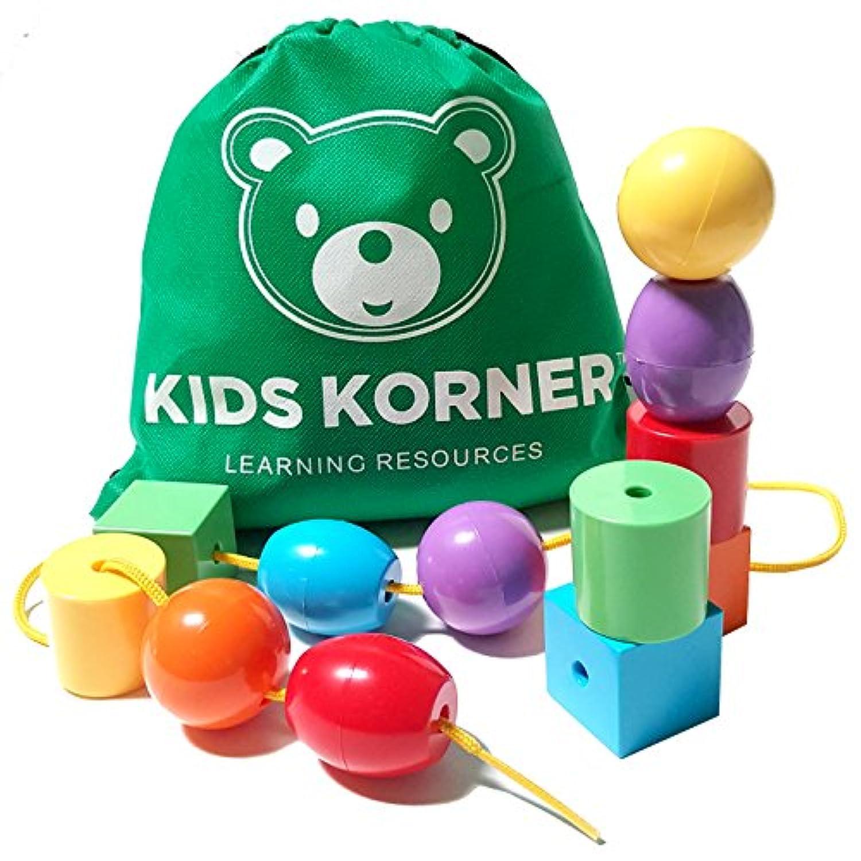 ジャンボLacing Beads |モンテッソーリ幼児用おもちゃ教育Stringingビーズセット| Sorting Shapes and Colors Fineモーター作業療法スキル( 12 pc +旅行バックパック)