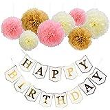 Happy Birthdayバナーと紙ポンポン花装飾用のパーティー(ホワイトボード)
