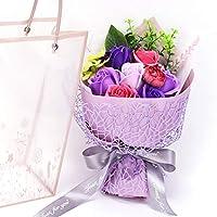 ソープフラワー 9本 造花 石鹸花 花束 手提げ袋付き 石鹸の花 枯れない花 香りがある 母の日 結婚記念日 送別会 お見舞い クリスマス 贈り物 誕生日 バレンタインデーの贈り物に最適です