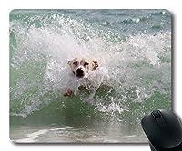 マウスパッドをカスタマイズして、かわいい犬、犬の波のサーフィンビーチは濡れ動物の世界、犬のゲームマウスパッド
