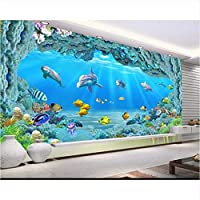 Weaeo カスタムHd大水中世界のコーラルホール3Dリビングルームテレビの壁の壁の水族館のプロモーションの壁紙-200X140Cm