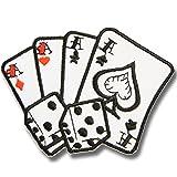 刺繍アイロンワッペン・アップリケ・パッチ【エースのフォーカード・ダイス】