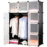 SAILUN ワードローブ DIY 組み立て式収納棚 収納ボックス 衣類ケース 衣類収納ラックおもちゃ箱 タンス 扉付き 洋服収納ラック 大容量(12BOX)