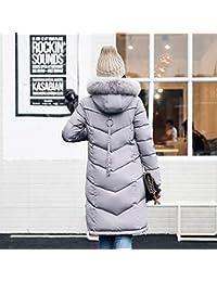 GridN 暖かいロングコート レディース アウターウェア ファーフード付き コート ロングコットン パッド入りジャケット ポケットコート(、)