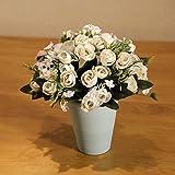 LifeStar 造花 フェイクグリーン 人工観葉植物 お世話のいらない 癒し 観葉植物 インテリア 人工 鉢植え 装飾 本物みたい プレゼント 贈り物 結婚式 パーティー 多色 ホワイト