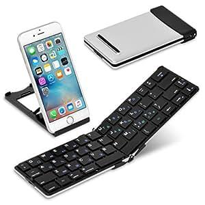 [超軽量134g] iPad&iPhone 用 キーボード Bookey© Pocket(ブラック)・薄くて軽い 持ち運びに便利な折りたたみ式 Bluetoothワイヤレス ポータブルキーボード
