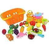 Blesiya 21pcs Plastic Shopping Basket Fruit Vegetable Kit Kids Pretend Play Food Toy